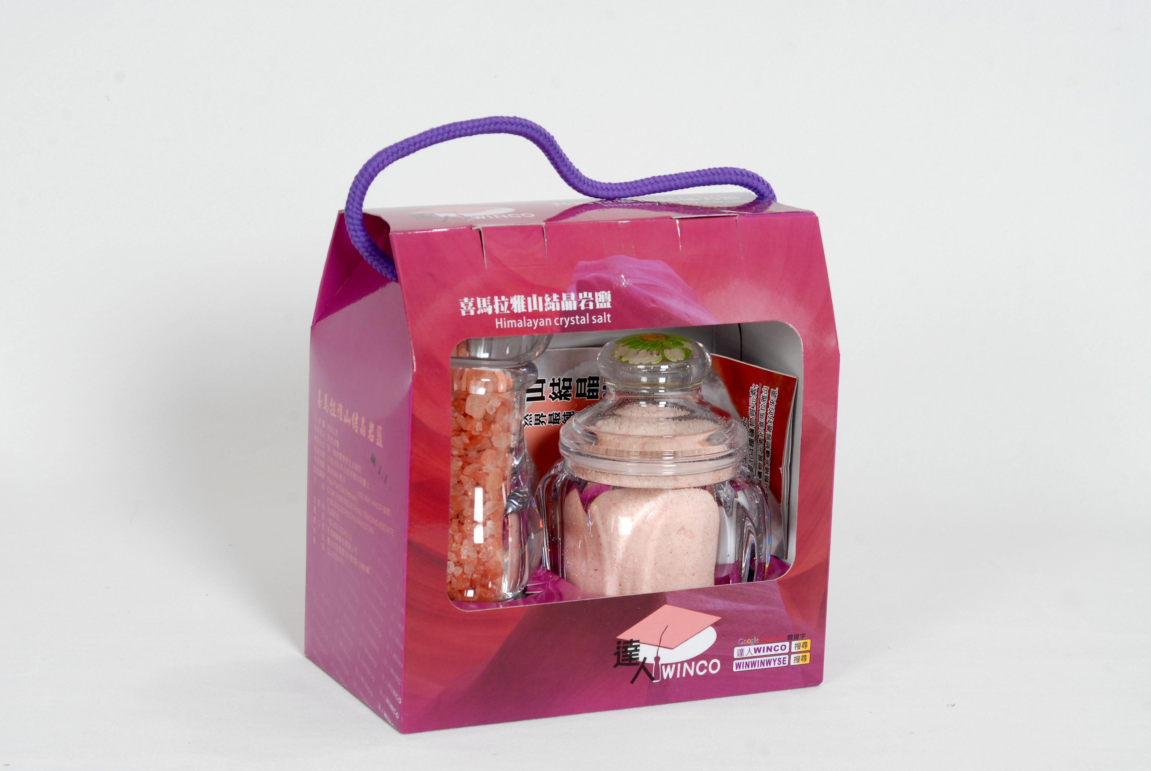 喜馬拉雅山結晶岩鹽(玫瑰鹽)2盒/禮盒組 (250公克細鹽四方罐)+(100公克粗鹽研磨罐)/禮盒